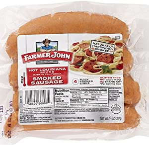 Farmer John Hot Louisiana Smoked Sausage 14oz. Package (Pack of 3) by Farmer John