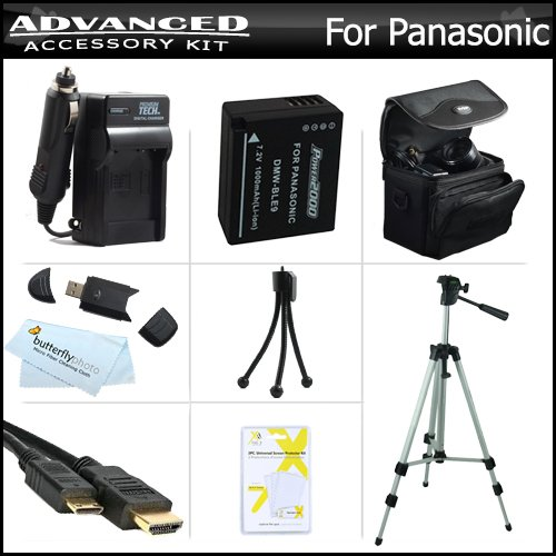 Advanced Accessory Kit For Panasonic Lumix Dmc-Gf3, Dmc-Gf3K, Dmc-Gf5, Dmc-Gf5K Digital Camera Includes Extended Replacement (1000 Mah) Dmw-Ble9 Battery + Ac/Dc Charger + Mini Hdmi Cable + Usb 2.0 Card Reader + Case + 50 Tripod + Screen Protectors +More