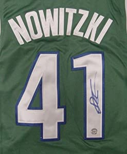 Dirk Nowitzki Dallas Mavericks Autographed Green #41 Jersey by Sports-Autographs