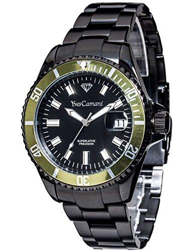 Yves Camani - YC1065-F - Montre Mixte - Quartz Analogique - Aiguilles lumineuses - Bracelet Acier Inoxydable Noir
