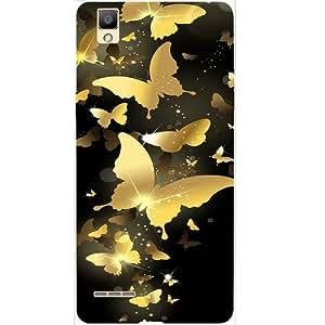 Casotec Golden Butterfly Pattern Design Hard Back Case cover for Oppo F1