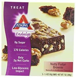 Atkins Endulge Nutty Fudge Brownie Bar, 5 - 1.4 oz. Bars (Pack of 2)