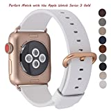 JSGJMY Apple Watch Band 38mm Women White Genuine Leather Loop Replacement Wrist Iwatch Strap with Gold Metal Clasp for Apple Watch Series 3 Gold