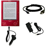 Sony Reader Touch / Pocket Edition (PRS-300, PRS-600) Digital Books USB 2in1 Sync and Charge Data Cable, Car Charger, and Wall / Travel Charger