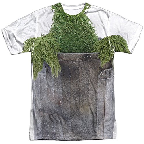 [Sesame Street Oscar Costume (Front Back Print) Mens Sublimation Shirt MD White] (Oscar Sesame Street Costume)