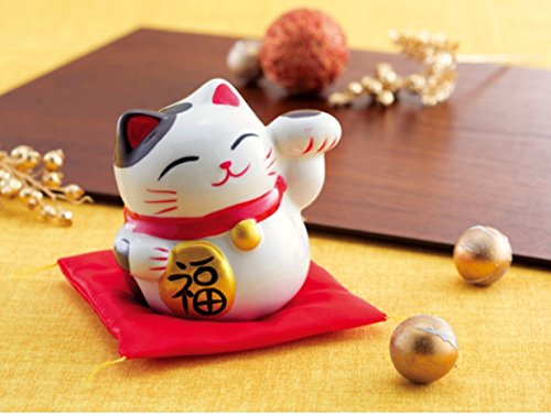 Good Fortune Lucky Cat Maneki Neko Pottery Money Piggy Bank With Cushion, Assorted (Colors May Vary)