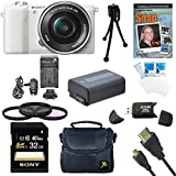 Sony a5100 ILCE5100L/B ILCE5100L ILCE5100 ILCE5100lb 16-50mm Interchangeable Lens Camera with 3-Inch Flip Up LCD (White) Bundle with Sony 32GB Class 10 SD card, Spare Battery, Rapid AC/DC Charger, Micro HDMI Cable, Filter Kit, Photography DVD + More