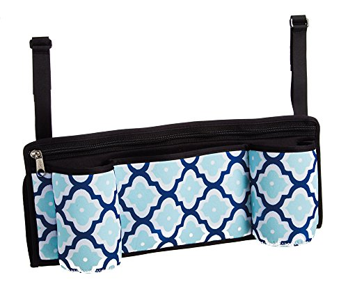 Blue Quatrefoil Stroller Caddy