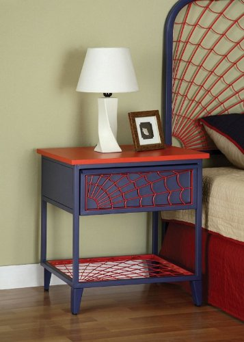 Cheap Kids Nightstand with Spider Web Design in Denim Blue and Red Finish (AZ00-46831×20323)