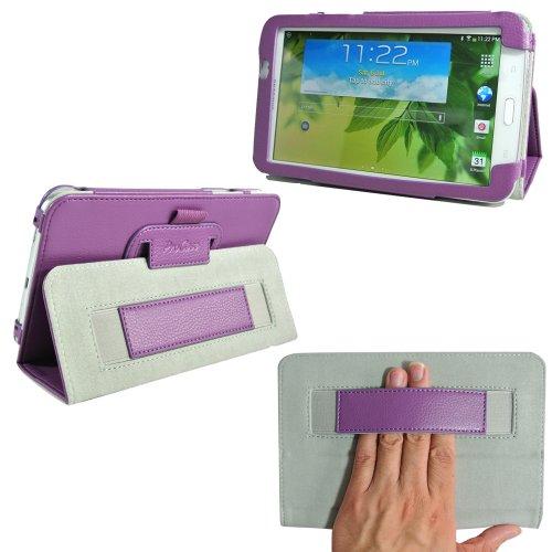 ProCase Samsung Galaxy Tab 3 7.0 Case - Flip Stand Leather Folio Cover for Samsung Galaxy Tab 3 7.0 Tablet Wifi 3G 4G LTE SM-T210R SM-T2100 P3200 (Purple) - 1