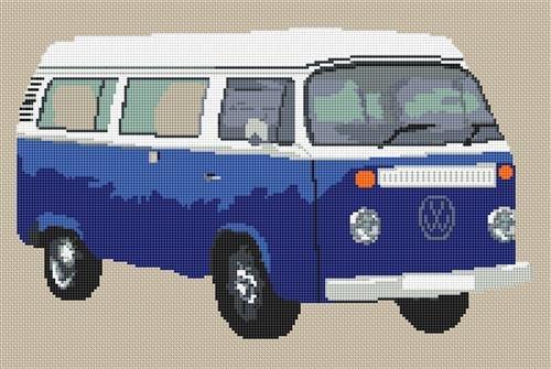 Volkswagen Camper Van Bay Window Cross Stitch Kit - DarkBlue