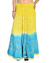 FEMEZONE Women's Cotton Skirt (Yellow & Blue, FEML101)
