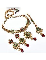 Kundan Necklace Set Cz Diamond Look Gemstone Indian Designer Stylish Latest One Gram Gold Plated Jewelry & Tika... - B00OKCDQZU