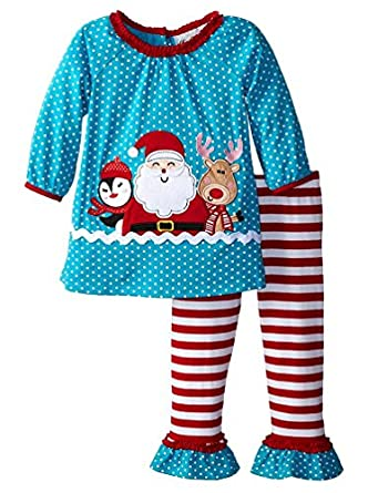 Rare Editions Little Girls' Turquoise Red SANTA & FRIENDS Leggings 2-pc outfit