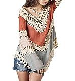 POSESHE Women's Crochet Lace Fringe Boho Bohemian Blouse Top Frayed Blouse Red One Size