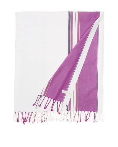 Nomadic Thread Society East African Throw, White/Purple, 90x60
