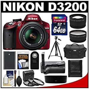 Nikon D3200 Digital SLR Camera & 18-55mm G VR DX AF-S Zoom Lens (Red) with 64GB Card + Case + Battery + Grip + Tripod + Lens Set + 3 Filters Kit