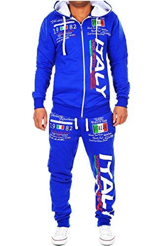 Tuta da jogging per uomo | Italia 2079| tuta da allenamento in 100% cotone | giacca da allenamento con cerniera | pantaloni da jogging con coulisse e cordoncino | tuta per Sport, con tessuto a costine | S-3x l Blau L