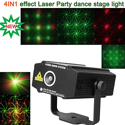 New Mini Red Green 4 Patterns Gobo Butterfly Projector Portable Dj Lighting Light Dance Disco Bar Birthday Wedding Party Christmas Xmas Effect Stage Light Show B25