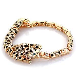 Pugster Golden Tiger Swarovski Elements Crystal Adjustable Lobster Clasp Bracelet For Women
