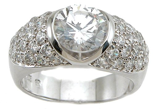 NEW 925 Sterling Silver CZ Anniversary Fashion Ring