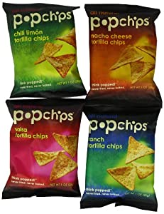 Popchips 4-Flavor Tortilla Variety Pack, 1-Ounce (Pack of 24)