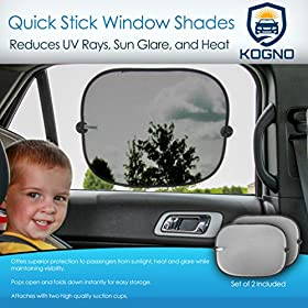 Car Window Sun Shade for babies & Passengers - 2 Pack - Guaranteed to Protect Your Child From Sun Glare, Heat, and UV Rays - UPF 30+ Sun Protection - Baby Sun Shade sized to fit most Vehicles - Easily Attaches and Stays Attached to Window - Sun Protecting Mesh Twice as Thick as Other Car Window Shades for Increased Sun Protection - Satisfaction Guaranteed for Life