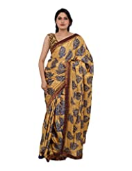 Chandan Sarees Crepe Silk Self Print Chiku With Navy Blue Print Saree