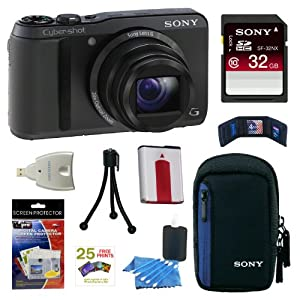 Sony DSCHX20V/B Cybershot 18.2MP 20X Digital Camera Black + 32GB Memory Card + Sony Case Black + Sony Type G Battery + Mini HDMI Cable