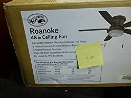Roanoke 48 In. Iron Indoor/outdoor Ceiling Fan, Features a Natural Iron Finish with 5 Reversible Natura