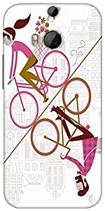 Snoogg Mirror Cycling 2557 Designer Protective Back Case Cover For Htc One M8