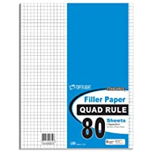 Top Flight Filler Paper, Quadrille Rule, 11 x 8.5 Inches, 80 Sheets (12650)