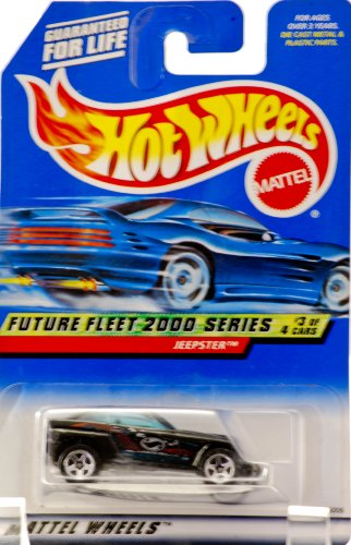 2000 - Mattel - Hot Wheels - Future Fleet 2000 Series #3 of 4 - Jeepster (Black) Tinted Windows - Collectibles Wheels - FF 2000 Graphics - Collector #003 - New - Out of Production - Limited Edition - Collectible - 1