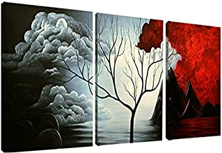 Santin Art- Modern Abstract Painting the Cloud Tree High Q. Wall Decor Landscape Paintings on Canvas 12x16inch 3pcs/set Stretched and Framed Ready to Hang