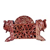 Avinash Handicrafts Soap Stone Carved Coaster Set Standing With 2 Elephant (15.5cm X4.5cm X9.5cm)