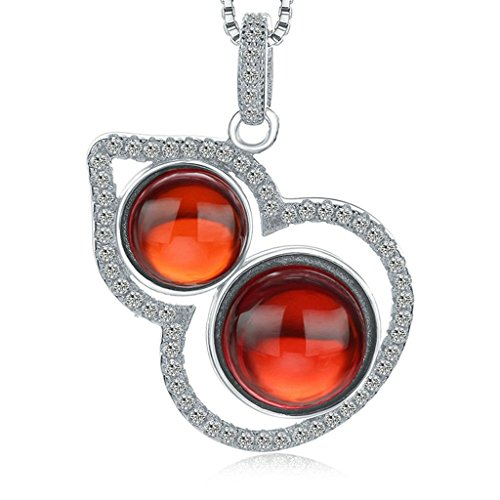 Beydodo Silver Plating Necklace(Pendant Necklaces) For Women Cucurbit Shape Garnet(Imitated) (Madonna Material Girl Fancy Dress)