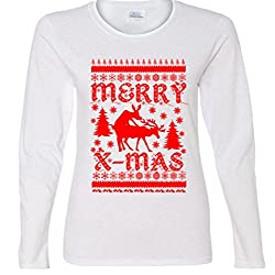 Merry X-Mas Frisky Reindeer Ugly Christmas Ladies Missy Fit long sleeve T-Shirt