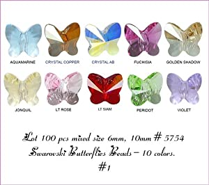 Wholesale Lot 100 pcs Mixed Butterflies 6mm - 10mm Swarovski #5754 Crystal Beads. 10 colors (#1).