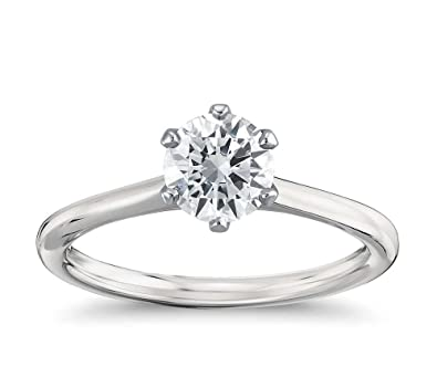 Diamond solitaire ring 6 claw style Platinum 950 with natural 0.50 carat Diamond