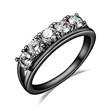 buy 6 Cubic Zirconia Black Gold Stainless Steel Women'S Wedding Bands,Promise Rings For Her, Black