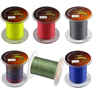 Titanline 6Pcs Different Colors High Grade Fiber PE Briad Fishing Line 15LB 500M... by Titan