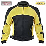 Xelement CF-509 Mens Black/Yellow Sports Armored Mesh Jacket