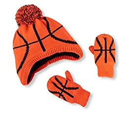 The Children\'s Place Basketball Hat and Mittens set (12-24 months)