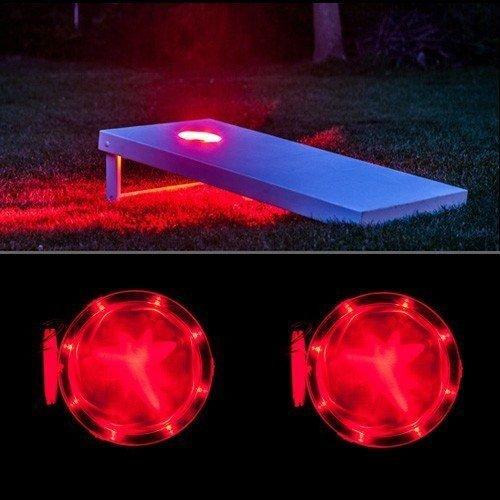 NEW Sporting Good Outdoor Red Cornhole Night Baggo Light Set w 2 LED Lights primary