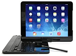 iPad Air 2 Flip Turn Keyboard Case - Clamshell Bluetooth Keybard Case Works in Laptop, Tablet, and Presentation Modes - Backlit Keys and Built-in Stylus Better than Clamcase and Zagg (Black)
