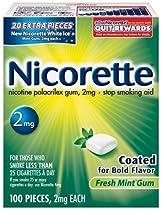 Nicorette Coated Gum 2mg, 100 pieces (Fresh Mint)