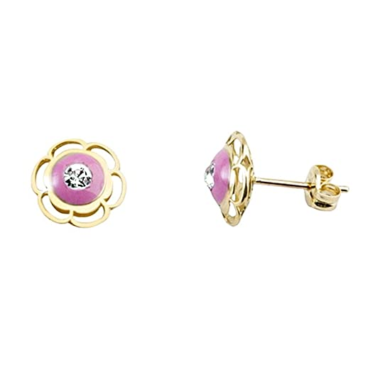 18k gold flower earrings glazed puff pink cubic zirconia [AA5405]