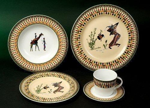 Kasva Afrika Dekor Kombi Service 49 teilig Neu Rund Porzellan Geschirr Set 6 Personen