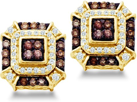 Brown Chocolate and White Round Brilliant Cut Diamond Stud Earrings in 10k Yellow OR White Gold Square Setting (1/2 cttw, H Color, I1 Clarity)