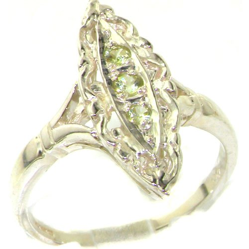 Rare Vintage Design Solid Sterling Silver Natural Peridot Ring with English Hallmarks - Size 11.75 - Finger Sizes 4 to 12 Available - Suitable as an Anniversary ring, Engagement ring, Eternity Ring, or Promise ring
